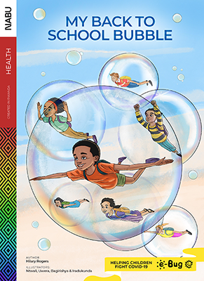 'My Back to School Bubble' e-storybook front cover shows seven children flying through the air, together, but in individual bubbles.