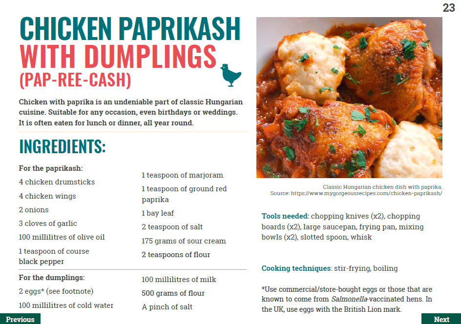 Recipe for Hungarian chicken paprikash with dumplings dish.